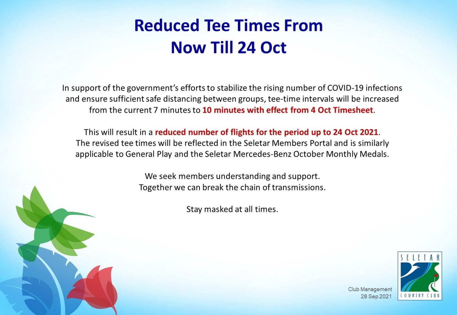 GOLF_Reduced tee times from 4-24 Oct